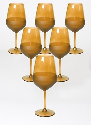 Rakle 490 cc Matte 6'lı Su Kadehi Seti Amber Sarı